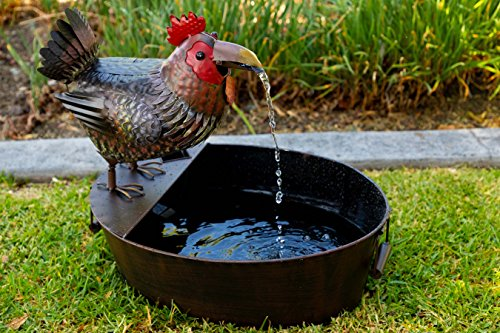 Alpine Corporation NCY296 Metal Rooster Outdoor Water Fountain for Garden, Patio, Deck, Porch-Yard Art Decor, 20-Inch Tall, Multicolor