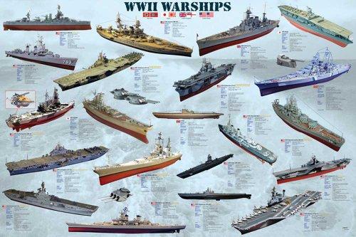 Educational - Bildung 2. Weltkrieg Schiffe - World War II War Ships Bildungsposter Plakat Druck - Maxiposter Version in Englisch - Grösse 91,5x61 cm
