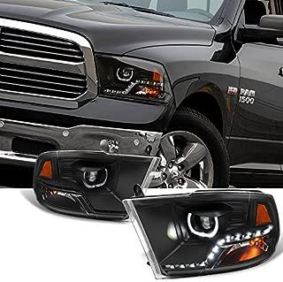 For [Angel Eye] 2009-2018 Dodge Ram 1500 2500 3500 Halo LED Projector Black Headlights Headlamps Pair