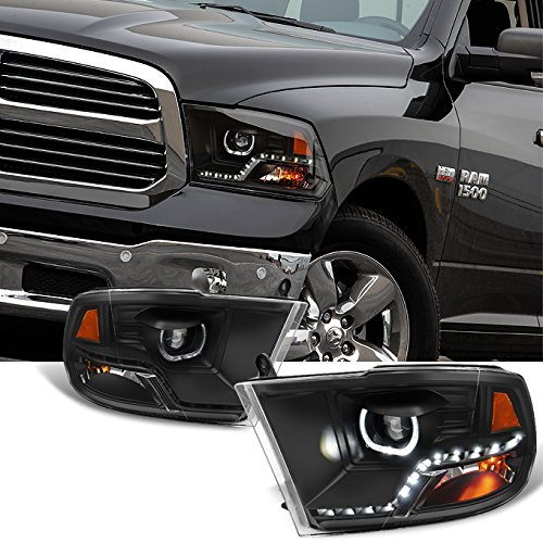 For [Angel Eye] 2009-2018 Dodge Ram 1500 2500 3500 Halo LED Projector Black Headlights Headlamps Pair
