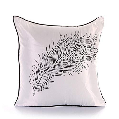 AQGELBZ Simple Hot Diamond Feather Square Pillowcase Sofa Cushion Cover Car Pillowcase Core@White_50*50cm [Pillowcase + Inner Core]