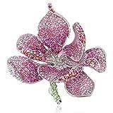 EVER FAITH Broche para Mujer Cristal Austríaco Flor Orquídea Pétalo Rosado Tono Plateado