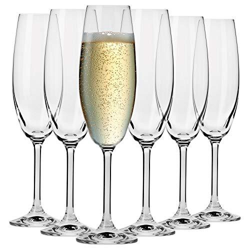 Krosno Sektgläser Champagner-Gläser Sektflöten | Set von 6 | 200 ML | Venezia Kollektion | Perfekt für Zuhause, Restaurants und Partys | Spülmaschinenfest