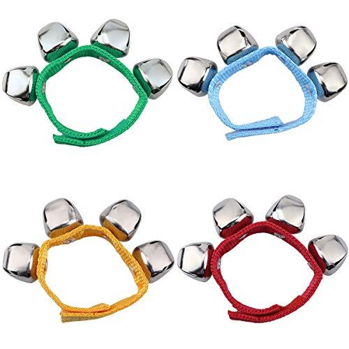 Handgelenk Glocken, Homgaty Armbänder mit Strong Straps, Einstellbare Armband Handgelenk Tamburine für Kinder Spielzeug, Schlaginstrumente, Party, Tanz (4 Stück)