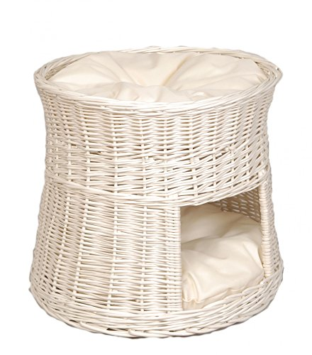 Floranica - White Wicker Cat Tower Two Tier Bed Basket House + cushions, organic willow product, made in the EU, Cushion color:light cushions