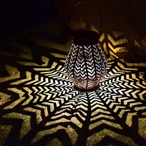 Solar Big Lantern Hanging Garden Outdoor Lights Metal Waterproof LED Table Lamp Decorative (2 Pack)