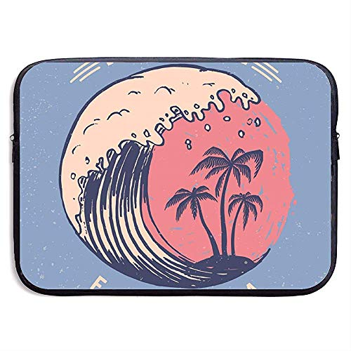 Miami Poster sjabloon met letters en palmen 15 Inch Laptop Sleeve Bag Draagbare Rits Laptop Bag Tablet Bag
