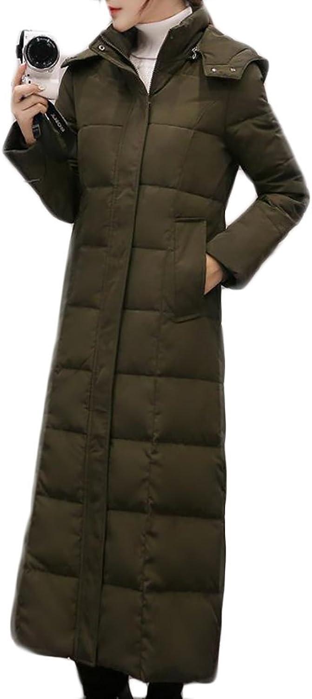 Pandapang Women's Classic Hooded Warm Long Jacket Packable Down Coat