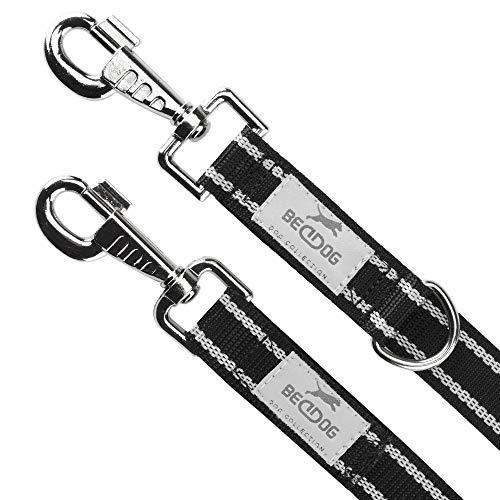 BedDog® Hundeleine Willy, verstellbar in 3 Längen, Doppel-Leine, Führ-Leine, Lauf-Leine, mittel-große und große Hunde, Gesamtlänge 2m - schwarz/neon