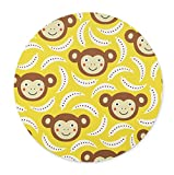Newing Lovely Monkey and Banana Mouse pad, Natural Rubber Round Mouse Pad, Quality Creative Wrist-Protected Wristbands Personalized Desk, Round Mouse Pad