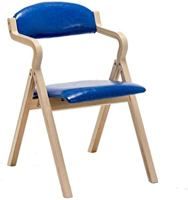 Home Foldable Back Chair Leisure Negotiation Chair Dining Chair, Oak Chair Frame, Easy to Clean PU Cushion (Color : Blue)