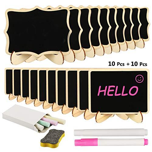 Mini pizarra, RATEL 20 Pack pizarra pequeña de madera,Rectángulo pequeño lugar tarjetas con soporte de caballete,Los carteles decorativos para alimentos colocan tarjetas para bodas, fiestas, buffet