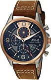 AVI-8 Men's Hawker Harrier II Stainless Steel Japanese-Quartz Aviator Watch with Leather Strap, Brown, 21.2 (Model: AV-4051-01)
