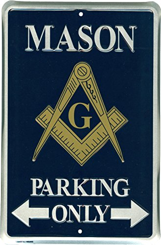 Tags America Mason Parking Only Novelty Metal Sign for Garage Bar Office Porch Lawn