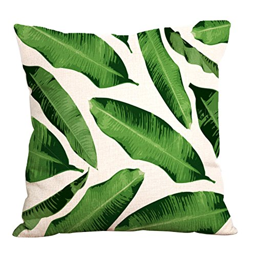Etopfashion Plantas Tropicales Algodón Lino Cuadrado Impreso Decorativo Throw Pillow Case Cojín Funda de Almohada para Sofá Silla Decoración 45 * 45 cm