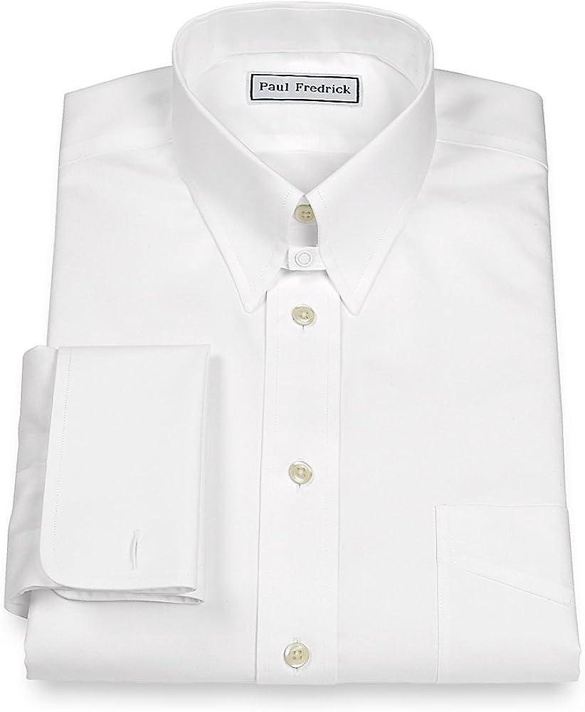 Paul Fredrick Men's Slim Fit Non-Iron Cotton Solid Snap Tab Collar Dress Shirt