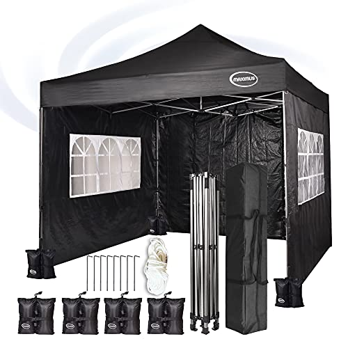 MAXIMUS® Heavy Duty Gazebo 3m x 3m Gazebo Market Stall Pop Up Tent With 4 Sides and Weight Bags (Black)