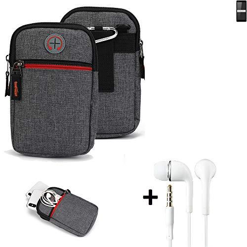K-S-Trade Gürtel-Tasche + Kopfhörer Für Ruggear RG850 Handy-Tasche Holster Schutz-hülle Grau Zusatzfächer 1x