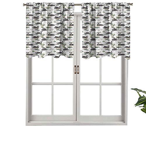 Hiiiman Cenefa opaca de alta calidad con bolsillo para barra, diseño de lago con plantas y animales, juego de 2, paneles opacos decorativos para el hogar de 137 x 60 cm