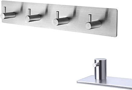 YamaziHD 3M Self Adhesive Stainless Steel Hooks, Wall Mounted Heavy Duty Hanger, Key Rack Towel Hooks for Bathroom, Living Room, Kitchen (4 Hooks)