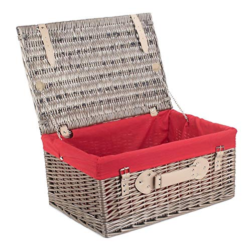 Red Hamper 36cm Antique Wash Wicker Picnic Basket with Red Lining