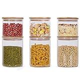GoMaihe 800ML + 1400ML Vorratsdosen 6er Set, Vorratsdosen Glas Gewürzgläser Luftdicht Glasbehälter aus Glasdose Mit Deckel Set, Vorratsdosenset Glas Aufbewahrung Küche Tee Gewürzgläser