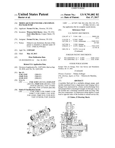 Modular fluid end for a multiplex plunger pump: United States Patent 9791082 (English Edition)