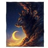 Dawhud Direct Fleece Throw Blanket (Golden Moon Wolf)