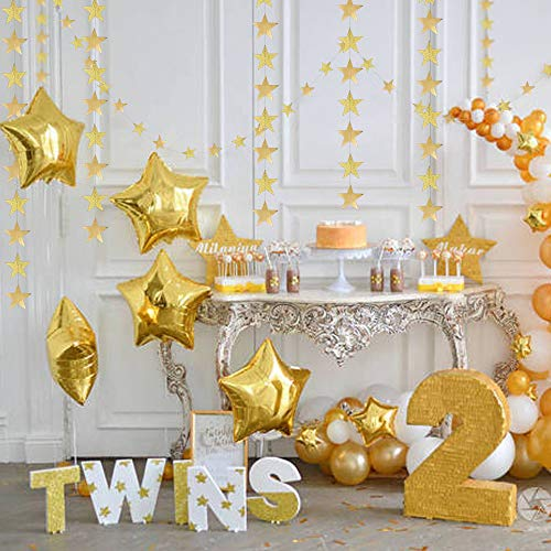 Glitter Gold Star Garland kit for Party Decoration Hanging Bunting Banner/Streamers/Backdrop/Background for Classroom/Birthday/Wedding/Graduation/New Year/Dance Recital