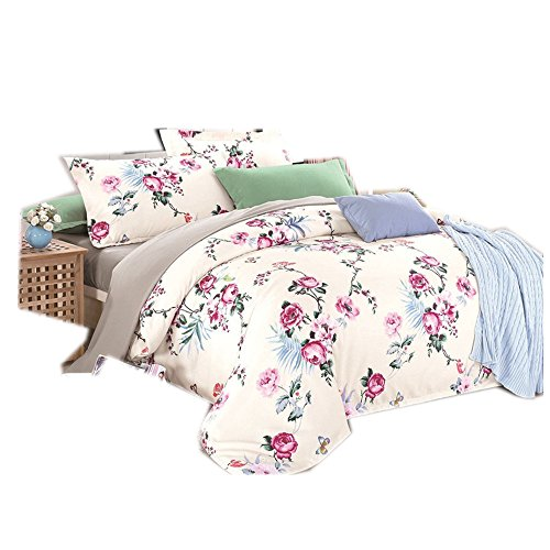 CHAOSE Funda nórdica Ropa de Cama de algodón Actividad de impresión Europa y los Estados Unidos hogar Planta Textil Flores de Tres Piezas (Style 2, 220×240CM- Cama de 150/160 CM)