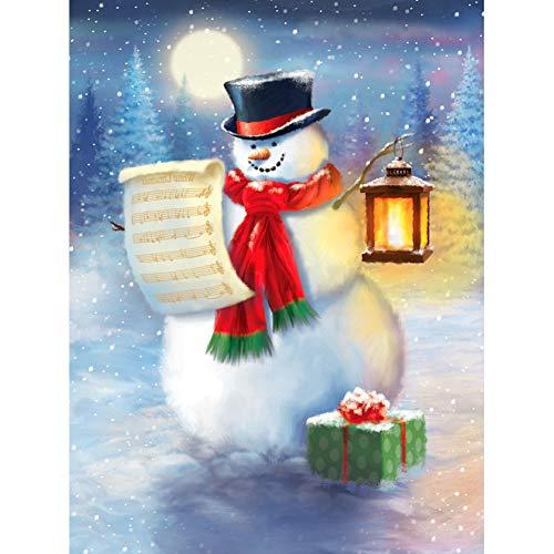 Kit de pintura de diamante 5D por números, lámpara de puntuación de muñeco de nieve regalo de invierno noche Navidad lienzo taladro completo pintura de diamante con diamantes de punto de cruz