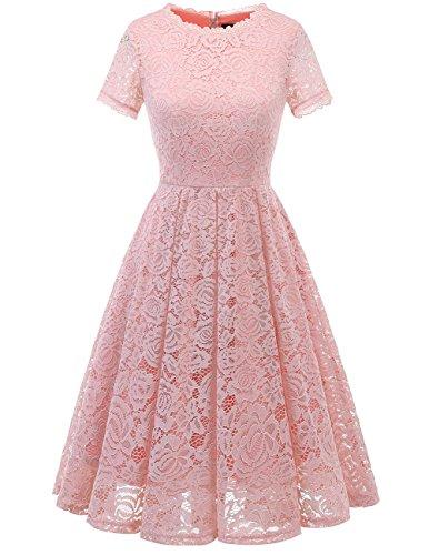 DRESSTELLS Damen Midi Elegant Hochzeit Spitzenkleid Kurzarm Rockabilly Kleid Cocktail Abendkleider Blush L