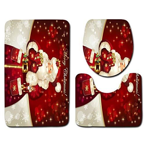 3 Stks/set Leuke Toiletbril Cover Elanden Sneeuw Scène Badkamer Wc Doek Patroon Vloerkleed Voor Thuis Kerst Decoratieve, A6