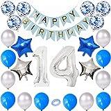 Kiwochy 14 cumpleaños decoración Set Plateado Azul cumpleaños Decoración niños cumpleaños decoración número 14 lámina Globo Banner de Feliz cumpleaños para niñas niños cumpleaños