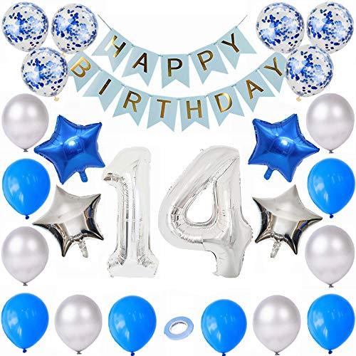 Kiwochy 14 Geburtstag Dekoration Set Silber Blau Geburtstagsdeko Jungen Geburtstagsdeko Blau Set 14. Geburtstag Party Ballon Zahl 14 Folienballon Happy Birthday Banner für Mädchen Jungen Geburtstag