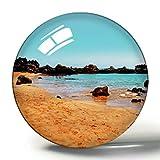 Hqiyaols Souvenir México Playa del Carmen Playa 3D Imán de Nevera Colección de Recuerdos Regalo de Viaje Círculo Cristal Imanes de Nevera