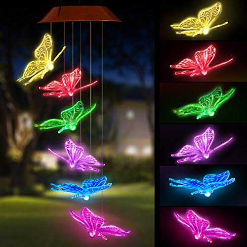PATHONOR Color-changing Solar Butterfly led Mobile Wind Chimes LED Upgraded Mobile Hanging Decor Waterproof Auto Light Sensor for Home Patio Garden Party Indoor Outdoor with S Hook