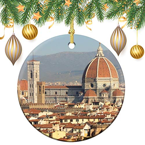 Christmas Ornaments, Florence italy Christmas Memory Tree Round Ornament, Ceramic Keepsake Decoration Ornament