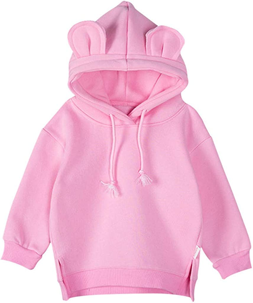 2DXuixsh Unisex Toddlers Sweatshirt Solid Colors Baby Hoodie Cartoon Casual Blouse Top Pullover Shirt 3M-3Y