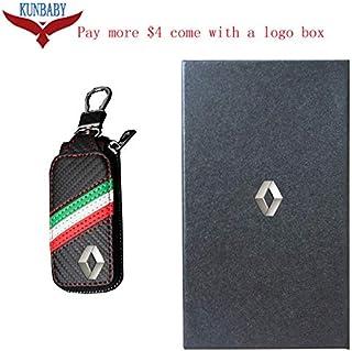 Interior Accessories Generic KUNBABY Top Men/Womens Fashion Carbon Car Keys Bag Keys Chains Case Holder Leather Key Wallet for Renault Color Name No.3
