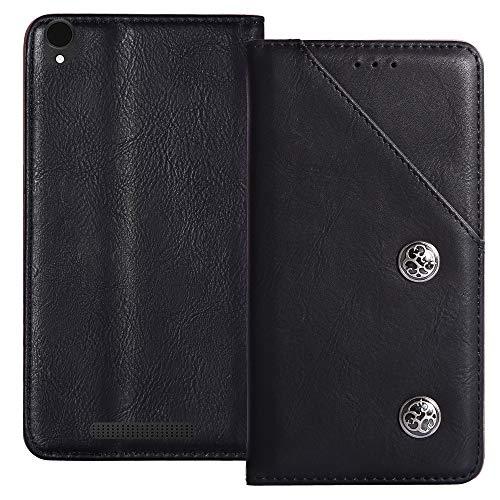 YLYT Flip Schwarz Schutz Hülle Hülle Für Archos Core 55 4G 5.5 inch Etui Leder Tasche Handyhülle Hochwertiges Stoßfeste Kartenfach Cover