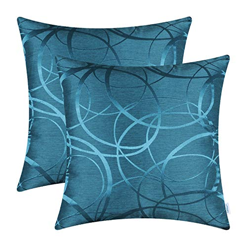 CaliTime Cushion Covers Pack of 2 Cushion Covers Throw Pillow Cases Shells for Couch Sofa Home Decor Modern Shining & Dull Contrast Circles Rings Geometric 45cm x 45cm Sea Blue