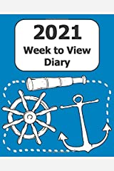 """2021 Weekly Diary: Large Print (Mariner - Blue Cover) - 8"""" x 10"""" with Months, Important Dates & Week to View Planner - Simple layout. Large Print. Easy to use for visually impaired Paperback"""