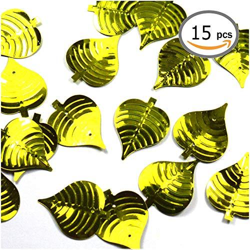 Générique Lot de Grandes Paillettes de Sequin : Sequins à Coudre, à Coller, Sequins Scrap, Paillettes décoration, déco décoratives (Lot DE 15 Feuilles Vertes)