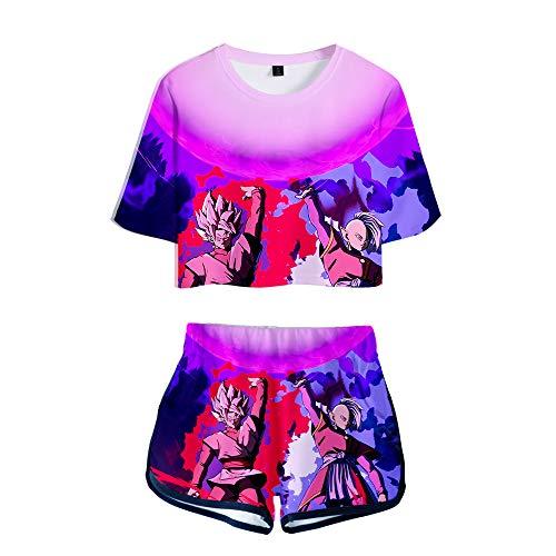 HIMFL 2 Piezas Chándales Atuendo Conjuntos de Pijama Impreso Esfera del dragón Camiseta Tops Cortos + Traje Corto,M