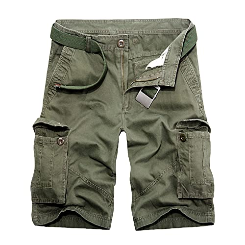 Men's Cotton Zip Deco Cargo Shorts Classic Multi Pockets Casual Basic Shorts Straight Leg Twill Lightweight Short Pants (Green 3,29)