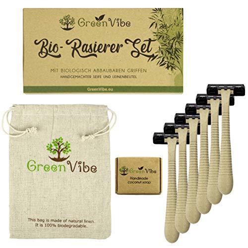 Nachhaltige Einwegrasierer Set: Rasierer, Rasierseife Vegan, Leinenbeutel, Biologisch Abbaubare Griffe, 3 Klingen, 6 Umweltfreundliche Einmalrasierer in Recycelbarer Verpackung