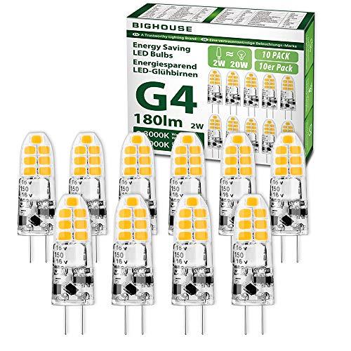 G4 LED Lampen, BIGHOUSE 2W 180 Lumen LED Birnen Ersetzt 20W Halogenlampen, 3000K Warmweiß Stiftsockellampe, 12V AC/DC, 360° Abstrahlwinkel Glühbirnen