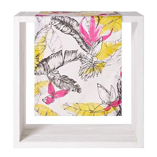 Proflax Tischdecke Summer 50x160cm l Blüten-Mix l gelb-pink