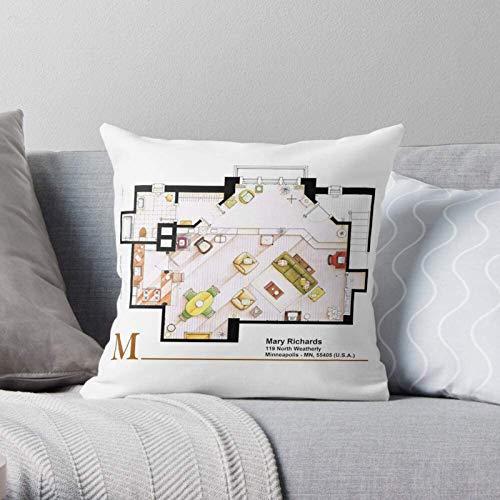 Blaupause TV-Plan Layout Aliste Grundriss Lizarralde Boden Moderne dekorative & leichte weiche Polyester-Kissenbezüge für Schlafzimmer/Wohnzimmer/Sofa Stuhl & Auto,16''×16''